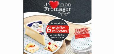 Echantillon gratuit : 2 parts pave d affinois achète = 6 assiettes collector