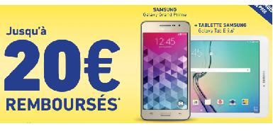 Jusqu'à 20€ remboursés pour l'achat d'un Samsung Galaxy Grand Prime Blanc 4G + Tablette 9,6