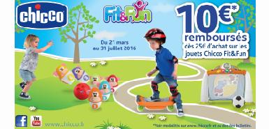 10€ remboursés en différé pour l'achat des jouets chicco Fit &fun
