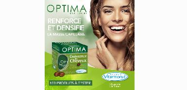 Testez gratuitement les capsules Optima Croissance des cheveux des Laboratoires Vitarmonyl