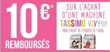 Profitez de 10€ remboursés sur une machine TASSIMO VIVYCRÈME T1257 et sur 2 paquets de T DISCs achetés