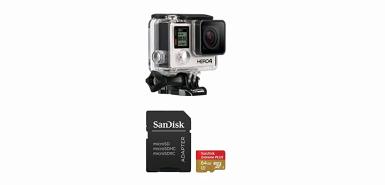 Bénéficiez de 90€ remboursés pour l'achat d'un GoPro Hero 4 Black + Carte Mémoire Sandisk Extreme PLUS MicroSDXC 64Go 95Mo/seconde
