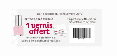 Echantillon gratuit : Un vernis à ongles offert chez Nocibé