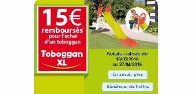 Recevez 15€ remboursés en différé pour l'achat d'un topoggan xl