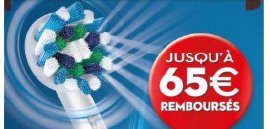 Jusqu'à 65 % remboursés sur un des produits de la gamme électrique rechargeable Oral-B