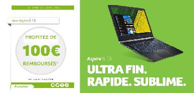 Jusqu'à 100€ remboursés sur Aspire S13
