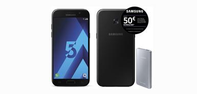Recevez jusqu'à 50€ remboursés sur un SAMSUNG- Galaxy A5 2017 - Noir + Fast Charging Battery Pack 5200 mAh - Argent