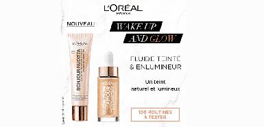 Testez gratuitement la routine maquillage Wake up and Glow de L'Oréal Paris